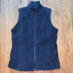 Lands' End Black Full Zip Fleece Vest size Small